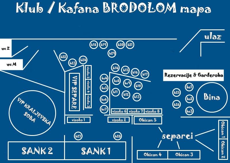 kafana brodlom mapa