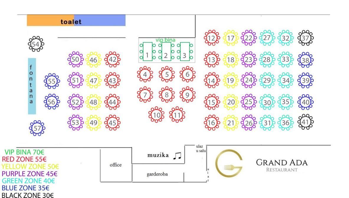 restoran grand ada mapa prostora